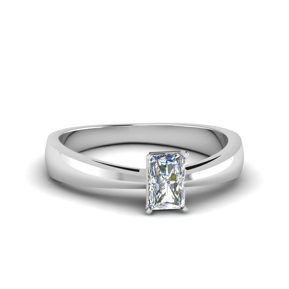 1/2 Ct. radiant Diamond Solitaire Tapered Ring