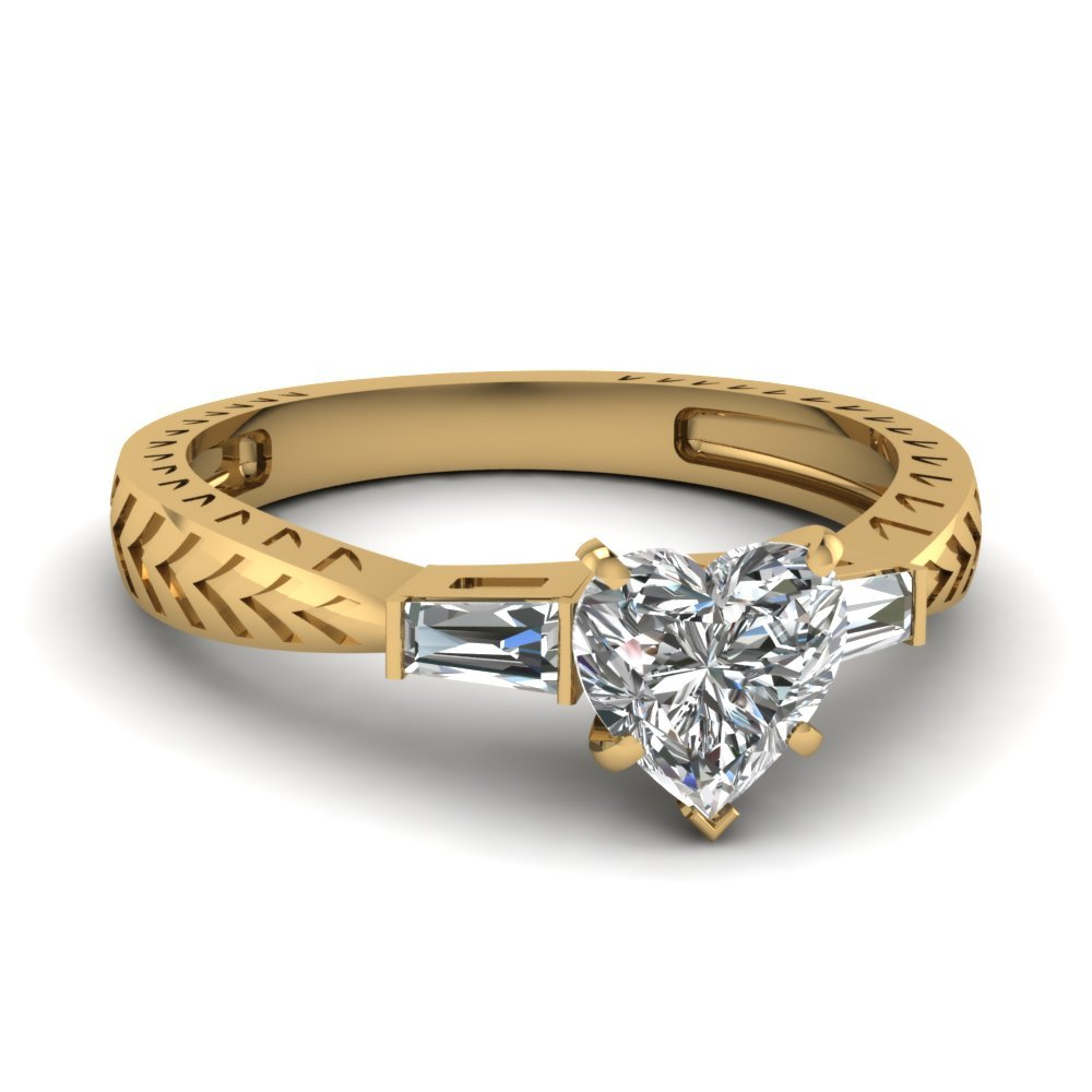 0.50 Ct. Heart Diamond Baguette 3 Stone Engagement Ring In 18K Yellow Gold