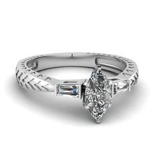 0.50 Ct. Marquise Diamond Baguette 3 Stone Engagement Ring In 18K White Gold
