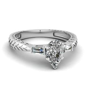0.50 Ct. Pear Diamond Baguette 3 Stone Engagement Ring In 950 Platinum