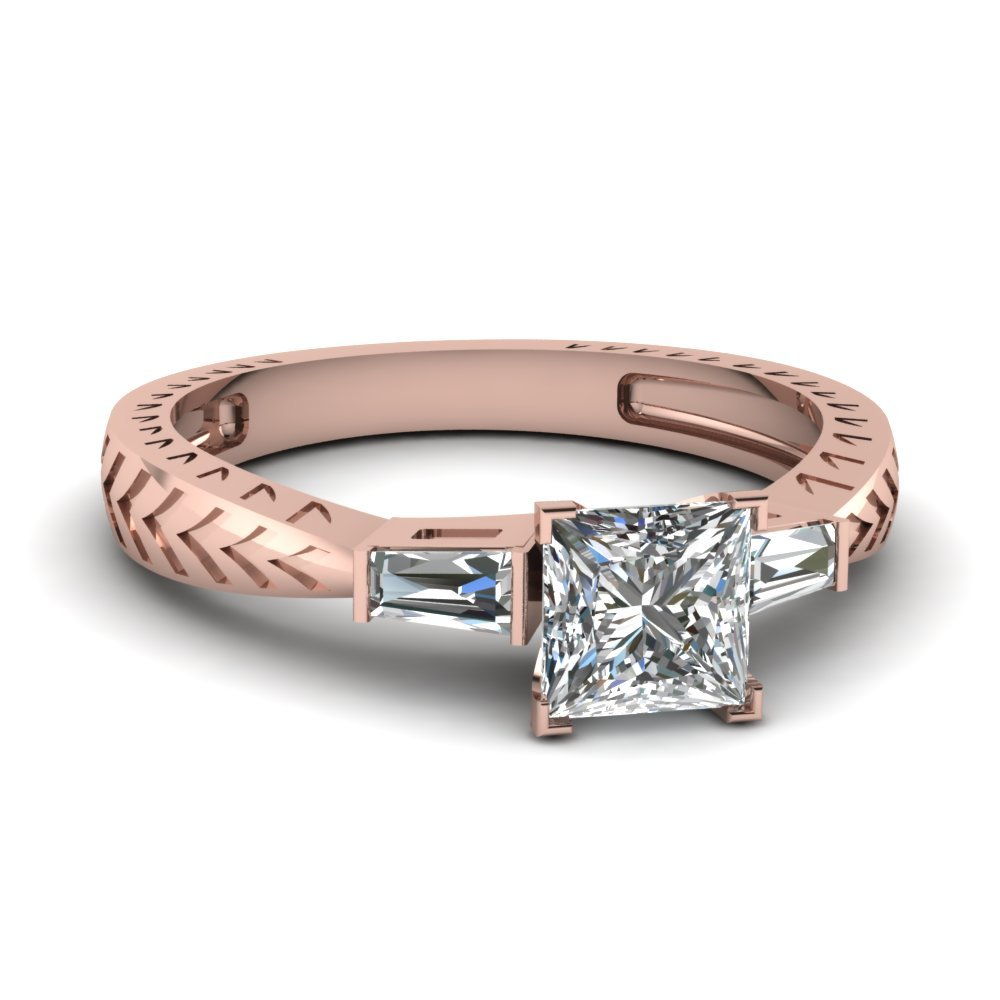 0.50 Ct. Princess Cut Diamond Baguette 3 Stone Engagement Ring In 14K Rose Gold