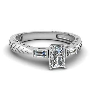 0.50 Ct. Radiant Diamond Baguette 3 Stone Engagement Ring In 14K White Gold