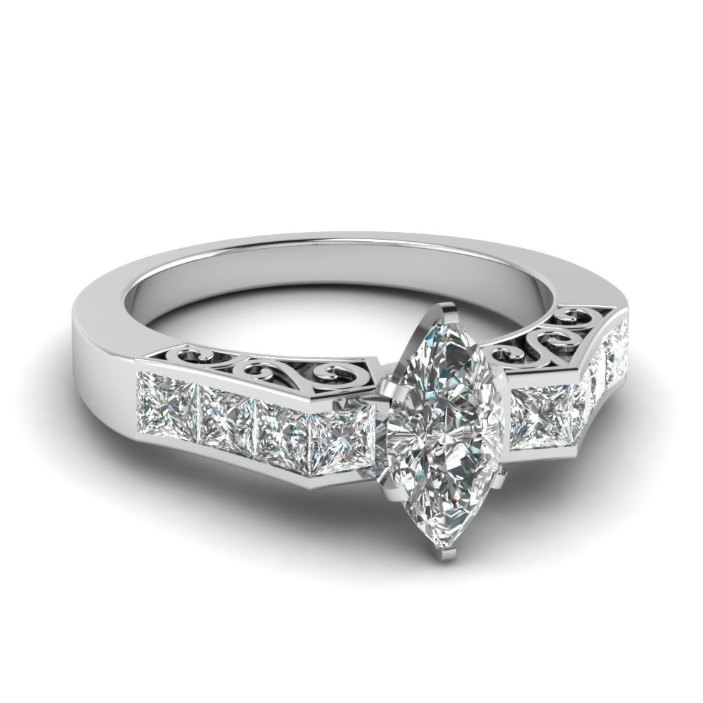 1.50 Ct. Marquise Cut Diamond Channel Set Ring