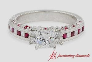 3/4 Ct. Diamond Princess Cut Vintage Milgrain Ring With Ruby In White Gold