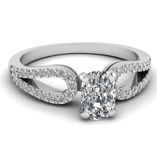 3/4 Ct.Cushion Cut Ring In Open Loop Style