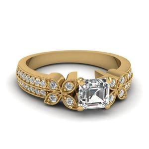 0.75 Carat Asscher Diamond Daisy Milgrain Engagement Ring In 14K Yellow Gold