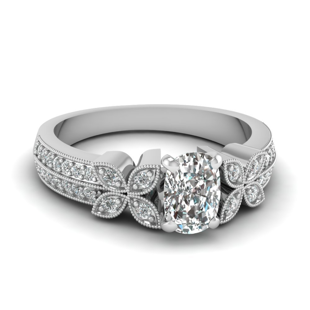 3/4 Carat Diamond cushion cut Daisy Milgrain Ring