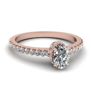 0.75 Carat Diamond Crown Thin Engagement Ring In 18K Rose Gold