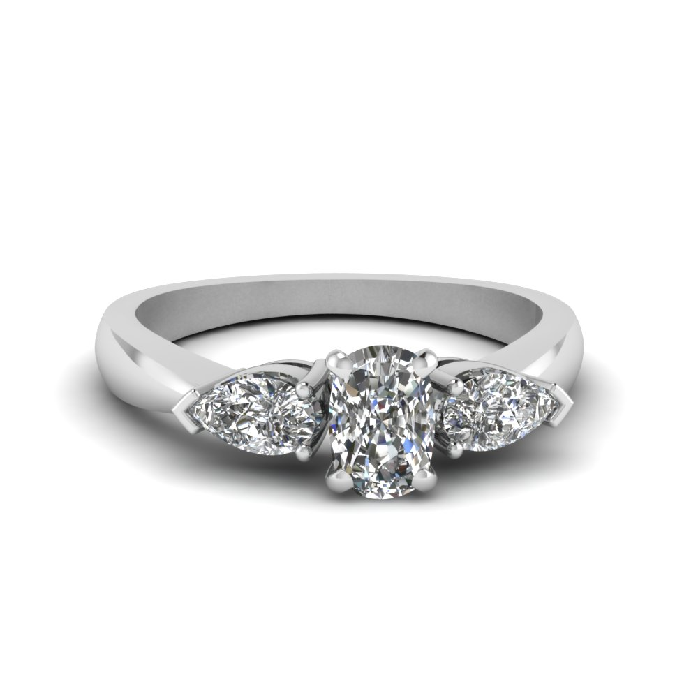 3/4 Carat Diamond cushion cut 3 Stone Ring