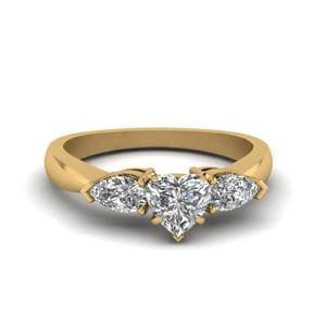 0.75 Carat Diamond Heart Shaped 3 Stone Engagement Ring In 14K Yellow Gold