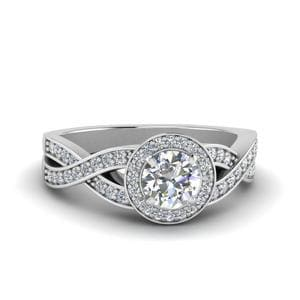 0.75 Carat Diamond Split Shank Halo Engagement Ring In 14K White Gold