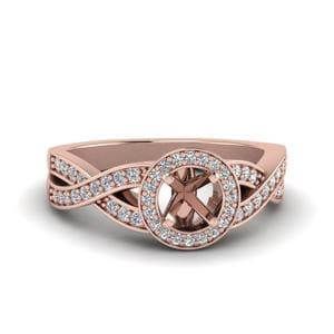 0.75 Carat Diamond Split Shank Halo Semi Mount Engagement Ring In 14K Rose Gold