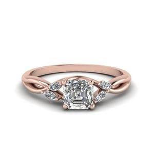0.75 Carat Diamond Twisted Asscher Cut Engagement Ring In 14K Rose Gold