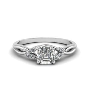 0.75 Carat Diamond Twisted Asscher Cut Engagement Ring In 14K White Gold