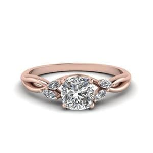 Cushion Cut Twisted Ring 0.75 Carat