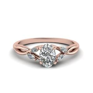 Rose Gold Oval Diamond Ring 0.75 Ctw.