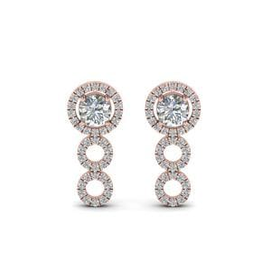 0.75 Ctw. Halo Diamond Drop Earring