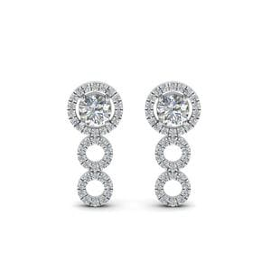 0.75 Carat Halo Diamond Drop Earring In 14K White Gold