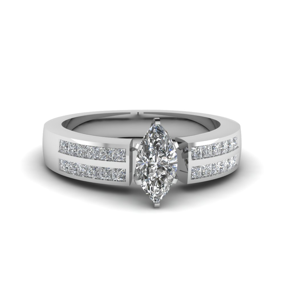3/4 Carat marquise Cut 2 Row Ring