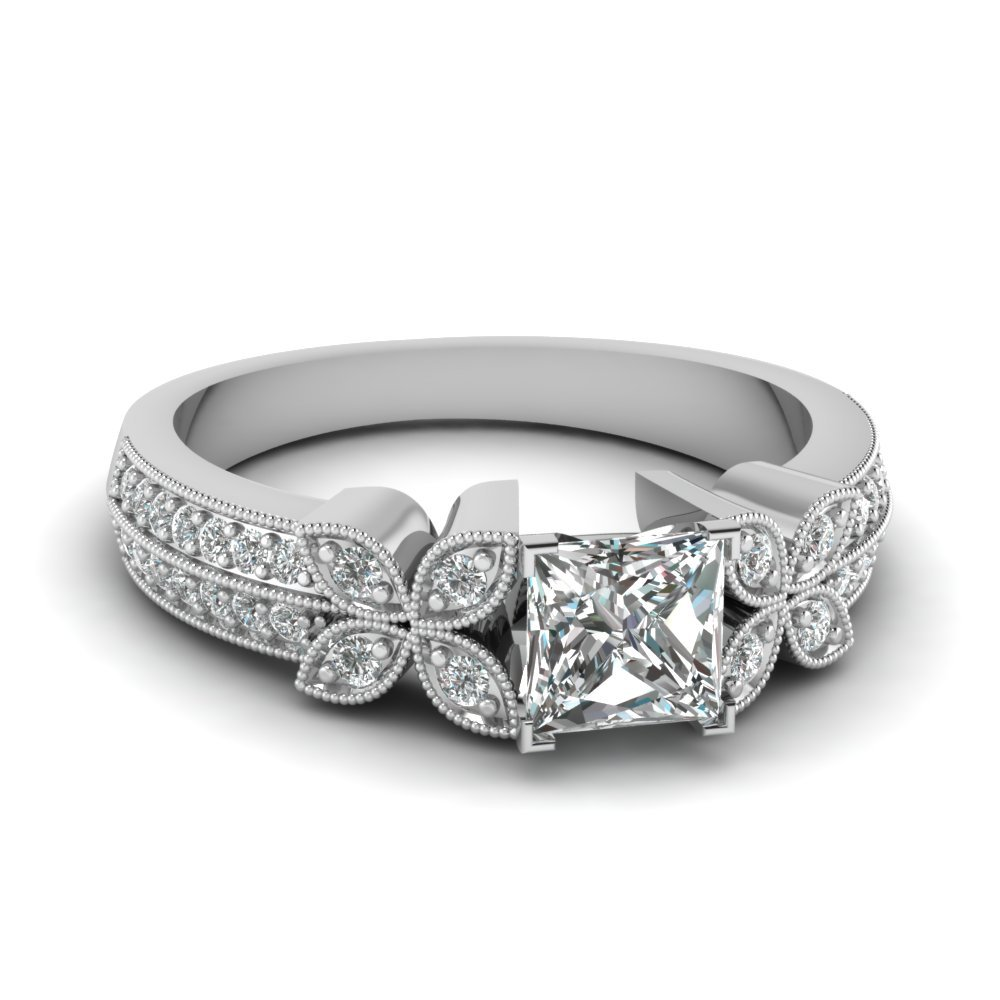 3/4 Carat Diamond Daisy Milgrain Ring