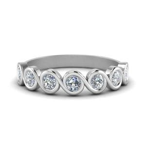 0.75 Ct. Round Cut Bezel Set Swirl Band