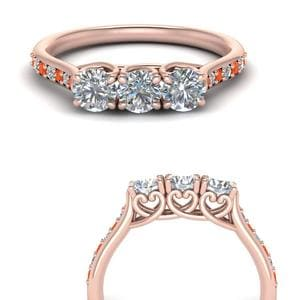 Petite Pave Orange Topaz Wedding Band