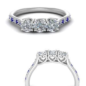 Heart Design Sapphire Wedding Band
