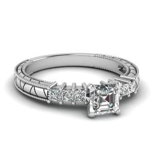 0.75 Ct. Asscher Diamond Vintage Style Engagement Ring In 18K White Gold