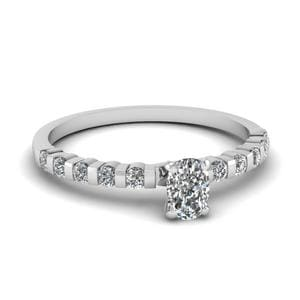 0.75 Ct. Cushion Diamond Bar Set Engagement Ring In 18K White Gold