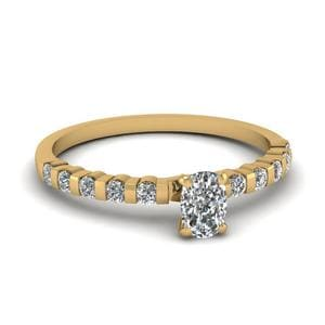 0.75 Ct. Cushion Diamond Bar Set Engagement Ring In 14K Yellow Gold