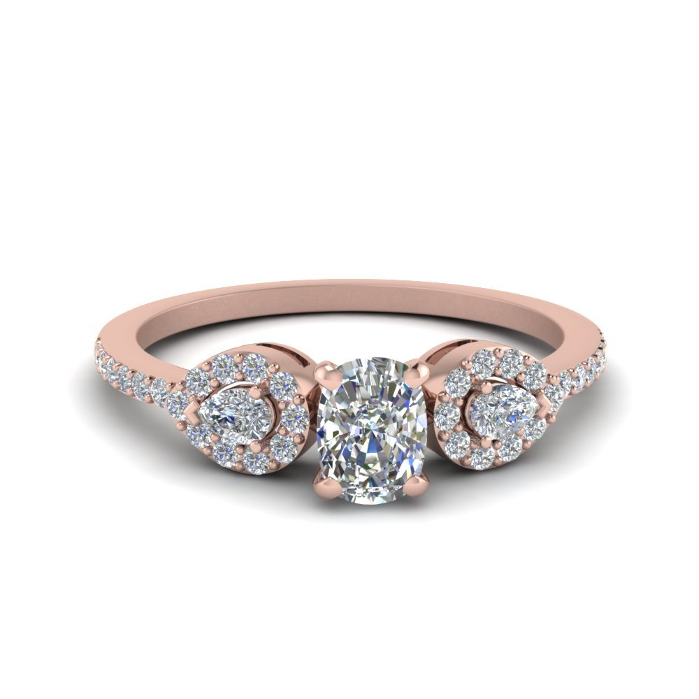 3/4 Ct. cushion Diamond Petite 3 Stone Ring