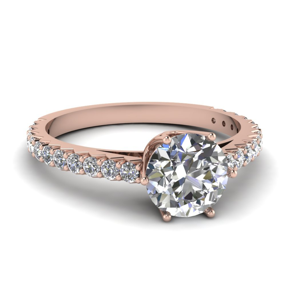 0.75 Ct. Diamond Crown Engagement Ring In 14K Rose Gold