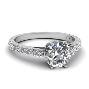 0.75 Ct. Diamond Crown Engagement Ring In 14K White Gold