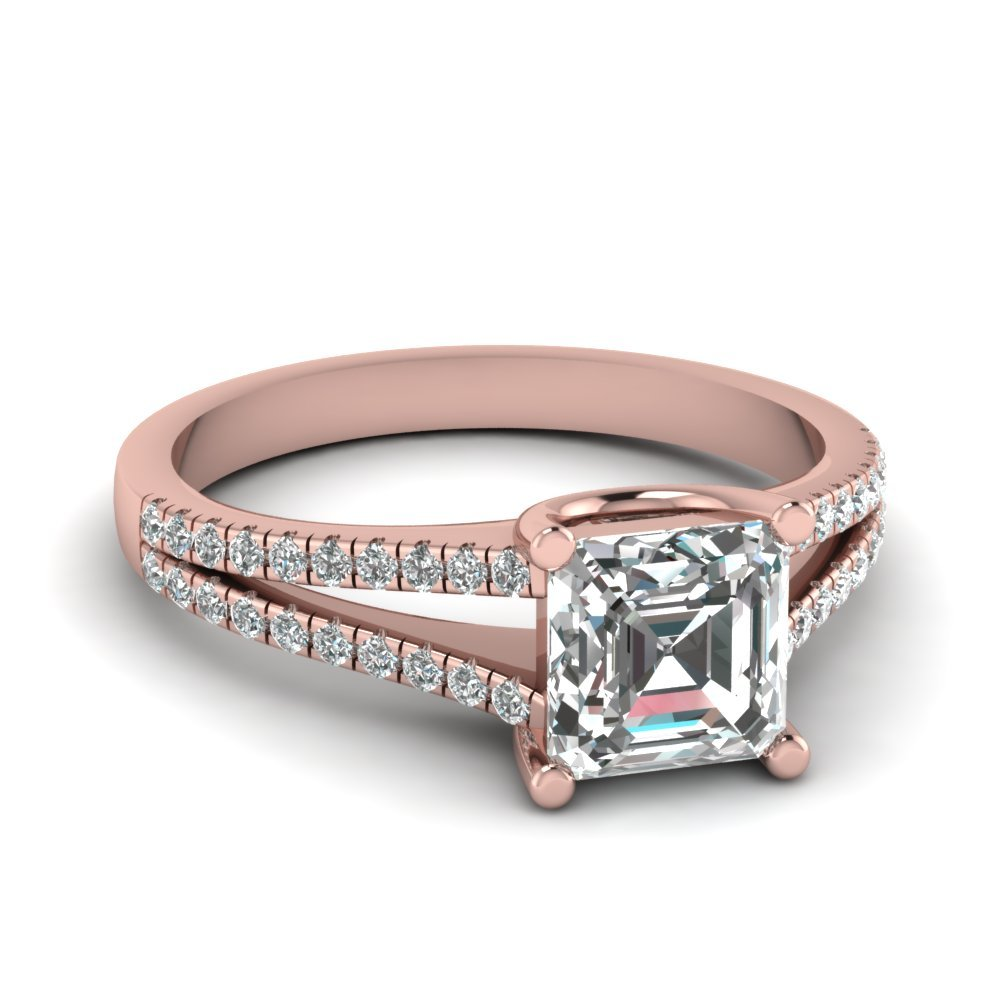 0.75 Ct. Diamond Delicate Split Shank Asscher Cut Engagement Ring In 14K Rose Gold