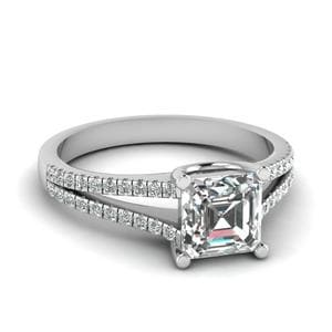 0.75 Ct. Diamond Delicate Split Shank Asscher Cut Engagement Ring In 18K White Gold