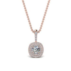 0.75 Ct. Cushion Diamond Halo Necklace Pendant In 14K Rose Gold