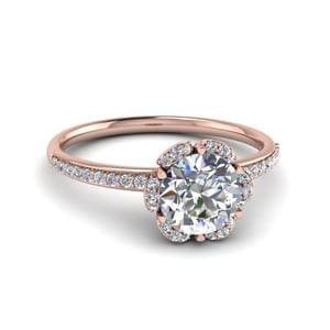 0.75 Ct. Diamond Halo Petal Engagement Ring In 14K Rose Gold