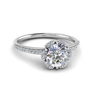 0.75 Ct. Diamond Halo Petal Ring