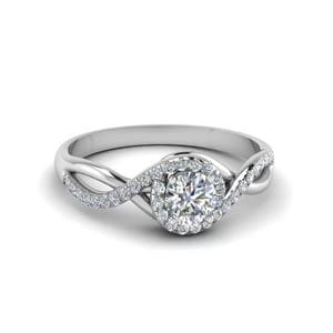 0.75 Ct. Diamond Infinity Halo Engagement Ring In 18K White Gold
