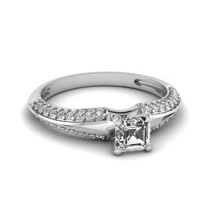 0.75 Ct. Diamond Knife Edge Asscher Cut Engagement Ring In 18K White Gold