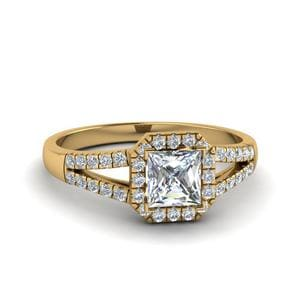 0.75 Ct. Diamond Square Halo Engagement Ring In 18K Yellow Gold