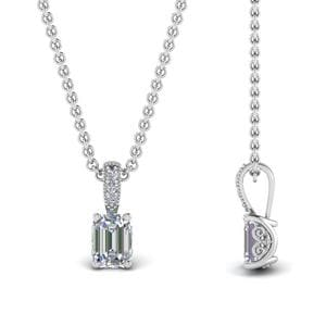 0.75 Ct. Emerald Cut Filigree Pendant