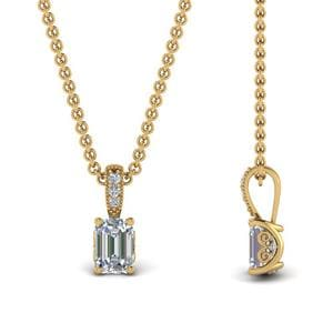 0.75 Ct. Emerald Cut Diamond Filigree Prong Pendant In 14K Yellow Gold