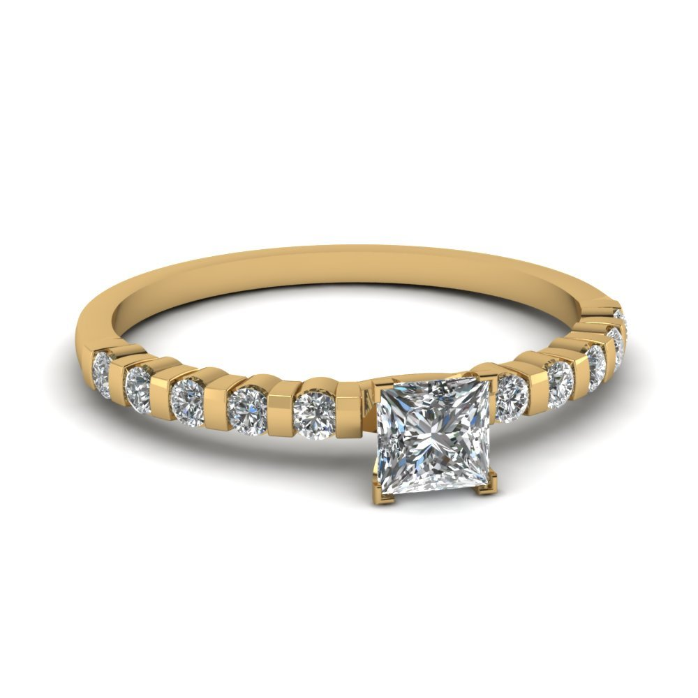 3/4 Ct. Diamond Bar Set Engagement Ring