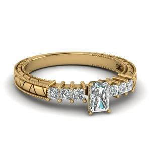 0.75 Ct. Radiant Diamond Vintage Style Engagement Ring In 18K Yellow Gold