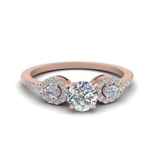 0.75 Ct. Round Diamond Petite 3 Stone Engagement Ring In 14K Rose Gold