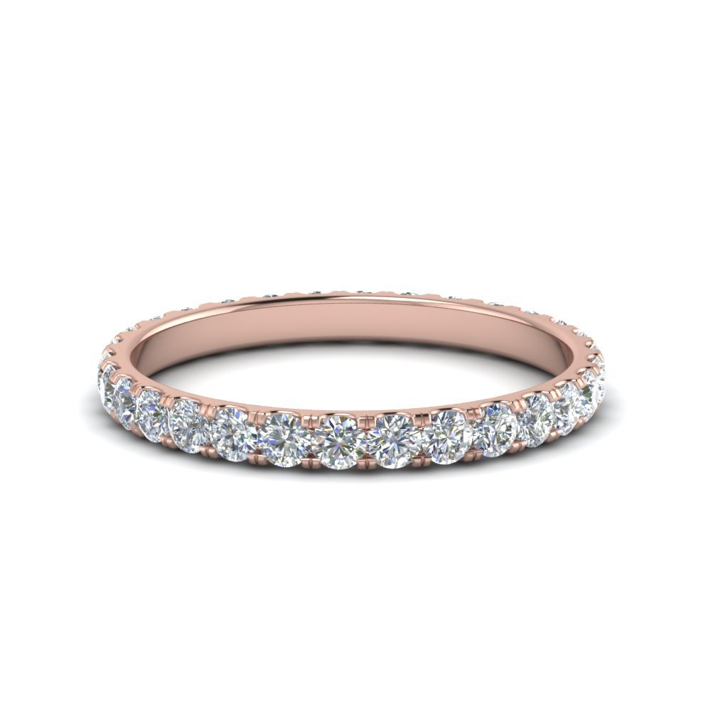 0.75 Ct. Round Eternity Diamond Wedding Band In 14K Rose Gold