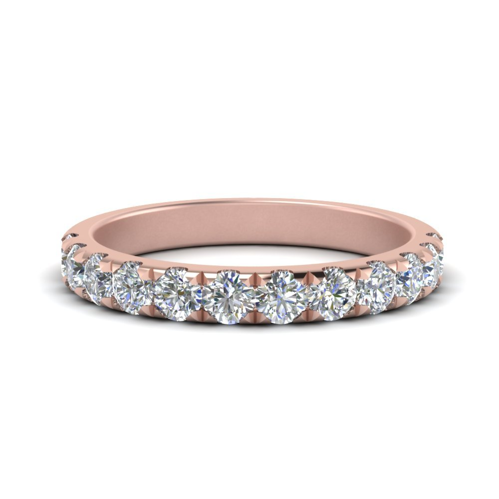 0.75 Ct. Scalloped Diamond Wedding Band In 14K Rose Gold