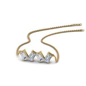 0.80 Carat Emerald Cut Diamond Necklace In 14K Yellow Gold