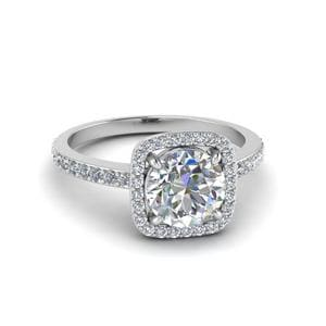 0.90 Ct. Diamond Square Halo Engagement Ring In 14K White Gold